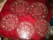 5 Anchor Hocking Star Of David 11 And 13½ Serving Platter Cake Plate Thick Glass