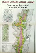 French Wine Maps By Louis Larmat Of The Burgundy Region C. 1940s