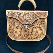 Western Natural Leather Hand Carved Portfolio Bag 12andrdquo X 10andrdquo X 5andrdquo