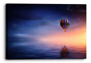 Hot Air Balloon Abstract Purple Orange Water Canvas Wall Art Picture Home Decor