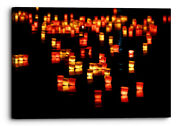 Candles Floating Abstract Orange Black Canvas Wall Art Picture Home Decoration