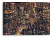 Abstract New York Cityscape Orange Yellow Lights Canvas Wall Art Picture Home