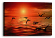 Abstract Seascape Birds Orange Red Canvas Wall Art Picture Home Decoration