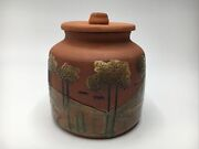Signed V. Bazarro Portugal Decorated Redware Handpainted Pot With Lid