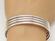 Mexico 925 Sterling Silver - Vintage Shiny Stacked Design Cuff Bracelet - Bt1219