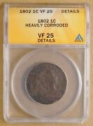 1802 Draped Bust Large Cent Anacs Vf 25 Details