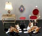 Vintage Miniature Dollhouse Furniture And Decor Tootsie Toy, Ideal And Wiesner 7 Pcs