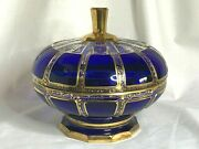 Moser Bohemian Art Glass Cobalt Blue Cabochon Pattern Footed Candy Dish