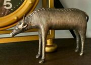 Unusual Antique Early 1900and039s Metal Bull Statue - Great Quality And Details- Signed
