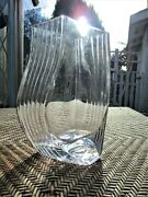 Vintage Clear Swirl Twist Ribbed Glass Vase 9 5/8 Tall Heavy