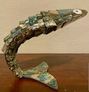 Vintage Mexican Abalone Mother Of Pearl Articulated Fish Bottle Opener 14 Long