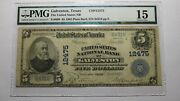 5 1902 Galveston Texas Tx National Currency Bank Note Bill Ch. 12475 Pmg F15