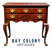 20th C Queen Anne Antique Style Goddard And Townsend Newport Cherry Lowboy Chest