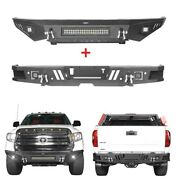Off-road Front Bumper W/ Led Light Bar + Rear Step Bumper For Tundra 2014-2021