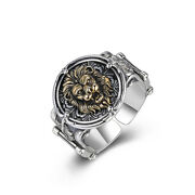 Men's Real Solid 925 Sterling Silver Rings Lion Animal Round Open Size 8 9 10