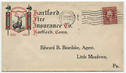 1911 Hartford Ct Fire Insurance Co. Color Ad Cover With Perfin [y4216]