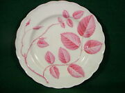 English 19thc Porcelain Plate With Puce Blind Earl Decoration A La Worcester.