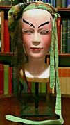 Antique Asian Chinese Hand-carved Wood Puppet Head With Real Hair
