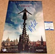 Michael Fassbender Signed 12x18 Photo Poster Assassins Creed Cal Lynch Bas