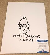 Matt Groening Signed 11x14 Canvas The Simpsons Family Homer Sketch Drawing Bas