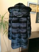 Genuine Nerz Mink НОРКА Fur Coat With Hood From Transverse Plates .
