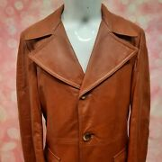 Vintage 70s Brown Leather Trench Coat Long Mens Size M Wool Lined Wide Collar