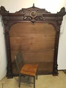 Large 6-1/2 Foot Antique Victorian Mantle / Entryway Mirror Frame Vintage 1800s