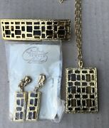 Park Lane Jewelry Vintage Set Necklace, Ponytail Holder And Earrings New Rare