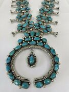 Navajo Mike Platero Sterling Silver And Kingman Squash Blossom Necklace