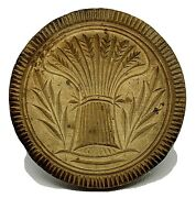 Antique 4.5andrdquo Round Butter Mold Stamp Wheat Sheaf Wooden Deep Patina. Pre-1900