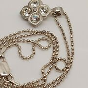 Solid Sterling Silver 925 Necklace And Pendant 16 Inch Chain N39 Cz Flower