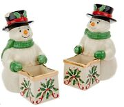 Lenox Set Of 2 Porcelain Treat Dishes With 24k Gold Accents - Snowman