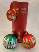 Waterford Holiday Heirloom Carina 3 Christmas Ball Ornaments - Set Of 2 Colors