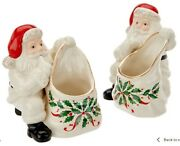 Lenox Set Of 2 Porcelain Treat Dishes With 24k Gold Accents - Santa
