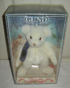 10871 Nrfb Vintage Gund Christmas Collectible 1991 White Teddy With Scarf