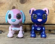 Spin Master Zoomer Interactive Dog Lot Of 2 Puppy Male Female Pink Blue