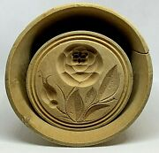 Antique Round Butter Mold Stamp With Plunger Cup Flower Design Pre-1900