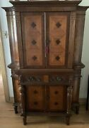 Antique Inlaid Carved Walnut And Satinwood Italian Style Curved Bar China Cabinet