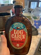 Vintage Log Cabin Syrup Glass Collectible Bottle Brown Amber 1776 American Eagle