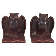 Van Briggle Pottery 1918 Mulberry Owl Book Ends