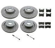Front And Rear Disc Brake Rotors And Pads And Sensors Kit For Mercedes W218 W212