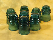 Eight Antique Brookfield Cd-121 Teal And Aqua Glass Insulators - Free Shipping