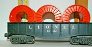 Vintage Lionel 6032 Freight Car---with 3 Large Orange Cable Reels---no Wire