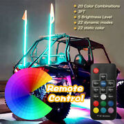 3ft Rgb Led Whip Lights + Flag 20 Colors Rf Controll Weatherproof Lighted