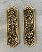 Pr Antique Ornate Brass Door Plate Floral Torch Ribbons Bows Filigree Boston Ma