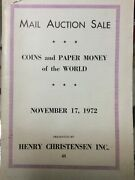 Henry Christensen Coin Paper Money Auction Catalog W Prices Realized Nov 1972