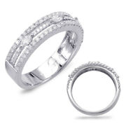 .72ct Diamond 14kt White Gold 3d Classic 3 Row Round And Marquise Anniversary Ring