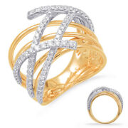Estate Large .70ct Diamond 14kt White And Yellow Gold Classic Criss Cross Fun Ring