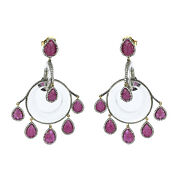 Chandelier Earrings 86.96ct Natural Crystal Quartz Diamond 925 Silver Jewelry