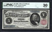 1891 5 Fr-267 Silver Certificate ♚♚ Grant ♚♚ Pmg Vf30 Great Color
